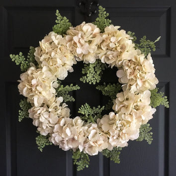 Wedding Wreath Elegance - Front Door Wreaths - Hydrangea Wreath - Wedding Wreath - Bridal Shower Decor - Housewarming Gift