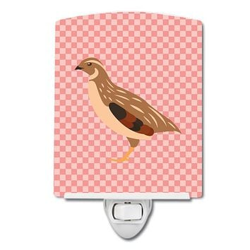 Golden Phoenix Quail Pink Check Ceramic Night Light BB7955CNL