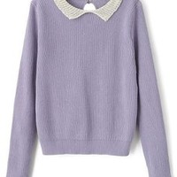 Women Long Sleeves Peter Pan Collar Knit Sweater 60% off retail