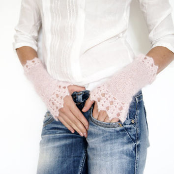 Cherry Blossom Girl Silk and Mohair Wrist Warmers