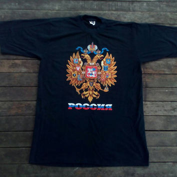 80's РОССИЯ T-shirt, POCCNR Cyrillic Russia USSR Grey Vintage T Shirt, Tee Shirt Old School Crewneck Super Soft Novelty Soviet Coat of Arms