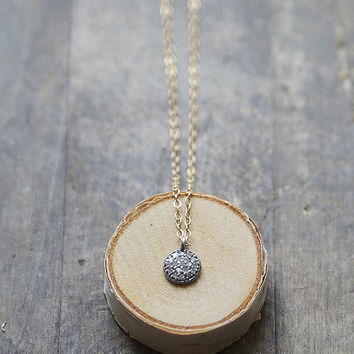 Raw Diamond Necklace, Petite Diamond Pendant, Oxidized Sterling with Diamonds, Mixed Metal Necklace, April Birthstone, Bridesmaid Jewelry
