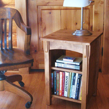 Bookcase End Table Handmade Alder Wood Mission-Style Reading Table