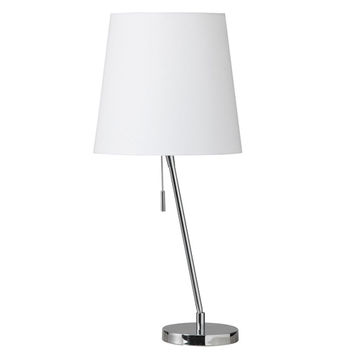 Dainolite 546T-PC Polished Chrome One Light Canting Table Lamp with Linen Shade