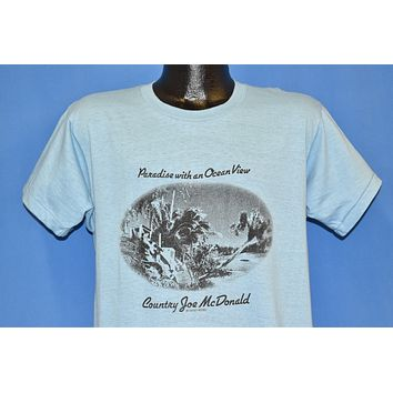 70s Country Joe Paradise Ocean Save Whales Blue t-shirt Large
