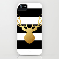 Deer head silhouette - Gold foil black and white stripe design iPhone & iPod Case by Jaclyn Rose Design