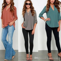Europe hot style Plus Size female v-neck long-sleeve ruffled cuff loose color chiffon blouse 7 Color 8 Code