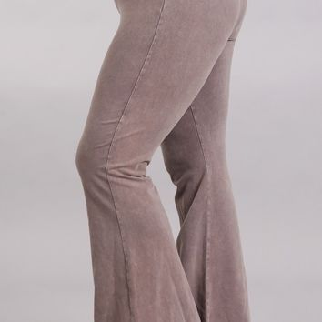 Chatoyant Plus Size Mineral Wash Flare Pants in Desert Taupe