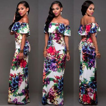 New Women Sexy Summer Floral print out off shoulder Formal Party Cocktail Bodycon Prom Long Dress