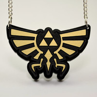Zelda Hyrule Triforce Necklace -Laser Engraved Hyrule Crest
