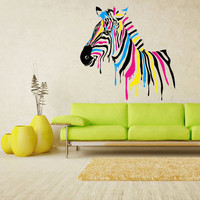 Full Color Wall Vinyl Sticker Decals Decor Art Bedroom Design Mural Horse Zebra Poster Animal (col86)