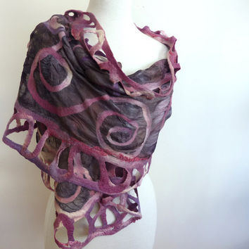 Silver and Pink Silk and Wool Wrap Nuno Felted Silk by sesenarts