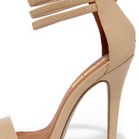 First Prize Nude Ankle Strap Heels