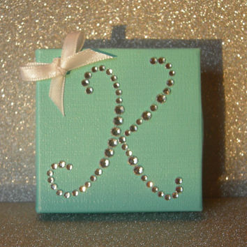 Rhinestone Monogram Tiffany Blue Favor Box