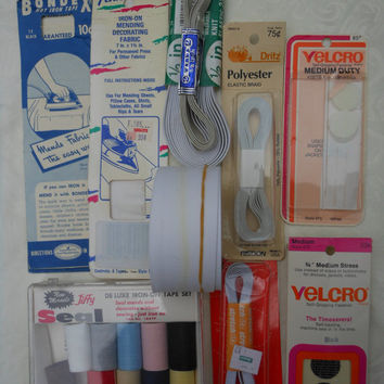 Vintage Sewing Supply Lot Elastic Velcro USA Mending Fabric Stretchrite Trimtex Dritz TCHrite Jiffy Seal Penn Bondex Crafts Destash Supplies