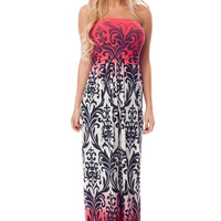 Bright Red Ombre Maxi Dress with Damask Print