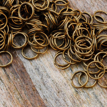 50 Antique Bronze Brass Double Loop JUMP RINGS Jumprings 7mm Jewellery Findings Making diyforstyle