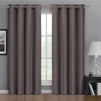 Purple 52x84 Gulfport Faux Linen Blackout Weave Grommet Window Curtain Panels