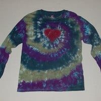 Tie Dye Heart Swirl Long Sleeved T-shirt - Any Size & Color Combination Available