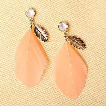 Pair of Chic Faux Opal Feather Leaf Earrings For Women   Pink