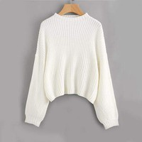 White Drop Shoulder Sweater