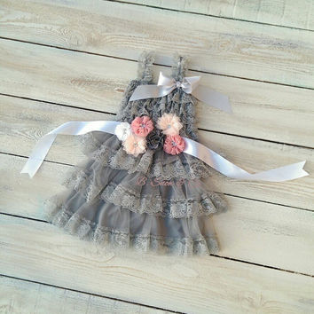 Flower girl dress and sash, charcoal flower girl dress, grey flower girl, charcoal sash, rustic flower girl dress, beach flower girl dress