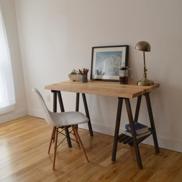 Reclaimed Wood Desk with A Frame Legs - Natural top with Black Legs || Free Shipping || Baltimore, Recycle