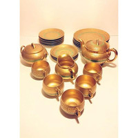 24k Gold Full Service Set Dinnerware Set Tea Set Hutschenreuther Royal Bavarian Porcelain Germany Dishes Plates German Teacups