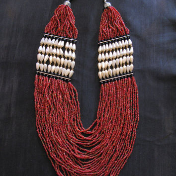 Indian Necklace - Beaded Native American Glass Beads - Tribal Ethnic Boho Bib Multi Strand