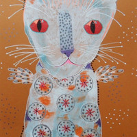Raw Art Cat - Folk Art  Cat - Primitive Art Cat - Cat Illustrations - Cat Paintings - White Cat - Angel Cat Painting - Quirky Cat Art