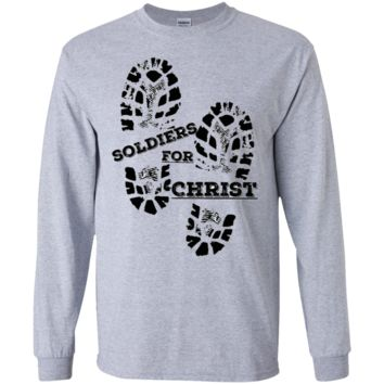 Men's double boot print Soldier for Christ long sleeve