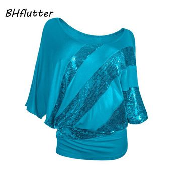 Women T shirt Batwing Cotton Casual Summer Tops Tees Short Sleeve Shiny Sequined Sexy T-shirt  Blusas