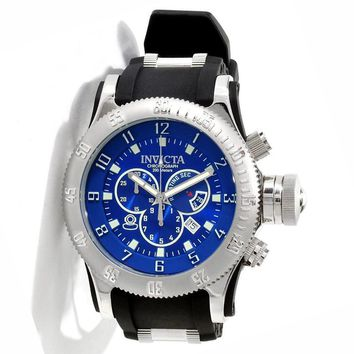 Invicta 10134 Men's Russian Diver Blue Dial Black Rubber Strap Stainless Steel Chronograph Dive Watch