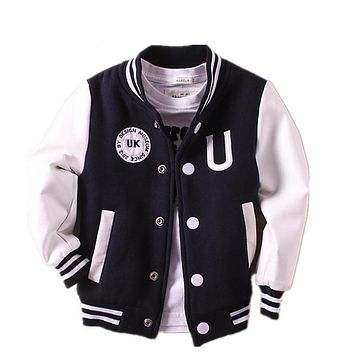 Spring Autumn 2017 Sprot Boys Jacket Baseball Children School Uniform Jackets Baby Boy Coat Outwear Teenager Clothing Kids Coats