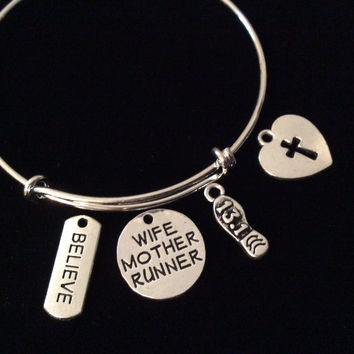Wife Mother Runner 13.1 Believe Cross Heart Expandable Silver Charm Bracelet Adjustable Wire Bangle Trendy