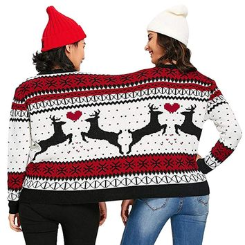 2018 Winter Couples Sweater pullover Two Person Ugly Sweater Couples Pullover Christmas Blouse Top Shirt family chirstmas tops