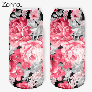 Zohra Vintage Flowers 3D Full Printed Sock Women Low Cut Ankle Socks Lovely Sokker Cotton Hosiery Elegant Socks