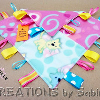Baby Crinkle Taggie, Baby Sensory Blanket Toy, Ribbon Lovie, pink, turquoise, hearts, swirls, cats, dogs PATCHWORK