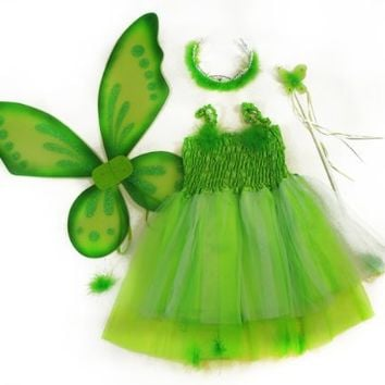 Kids Green 4 Pc Fairy Pixie Costume with Dress, Wand, Pixie Wings, and Hair Piece. Select Size: Medium (4-7)