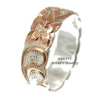 6MM SILVER 925 HAWAIIAN RING QUEEN SCROLL ROSE GOLD PLATED 2 TONE SIZE 3 - 14