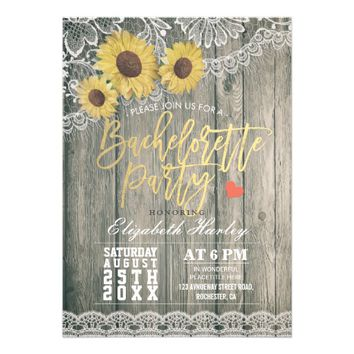 Rustic Wood Sunflowers Lace Bachelorette Party Card