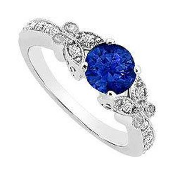 Sapphire and Diamond Engagement Ring : 14K White Gold - 0.66 CT TGW