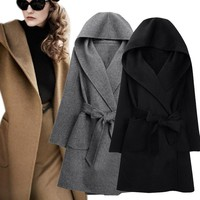Wool Coat, Versatile, Belted or Loose Fit. Warm Woolen Jacket Hooded Outerwear