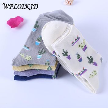 [WPLOIKJD] Harajuku New Plant Cactus Pattern Funny  Cotton Socks Women Girls Lovely Comfortable Cute Socks Chaussette Calcetines