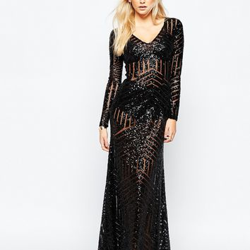Boohoo Sequin And Mesh Panelled Plunge Neck Maxi Dress