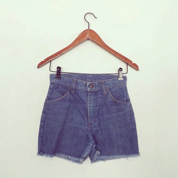 Vintage 1970s Cut Off Light Blue Denim Jean Shorts Size Small XS Short Shorts Western Cowgirl Daisy Dukes Hipster Boho JCPennys Summer