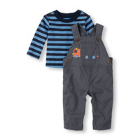 Baby Boys Long Sleeve Striped Top And Truck Overalls Set | The Children's Place