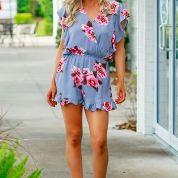 Flower Ruffle Romper Cool Grey