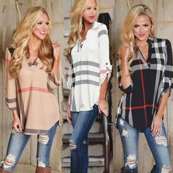 Women Plaid Shirt Summer Autumn Blouse Shirt V-neck Three Quarter Sleeve Casual Plaid Shirt 3 Colors LJJO4101