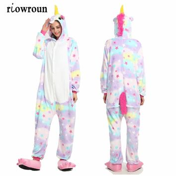 Unisex Onesuit Adults Women Flannel Hoodie Costume Cosplay Animal Onesuit Warm Sleepwear Men Unicorn Stitch Panda Pikachu Giraffe